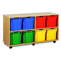 Image of 12 Jumbo Tray Storage Unit Beech Finish All Red Trays