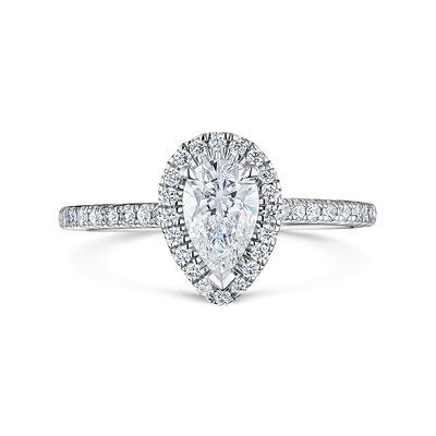 Pear Cut Diamond Halo Ring 0.85cts