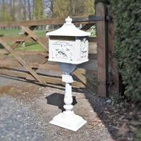 Decorative freestanding, aluminium letter box in white with ornate