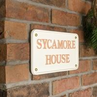 Aluminium Rectangle House Sign 30 x 17.5cm - cream