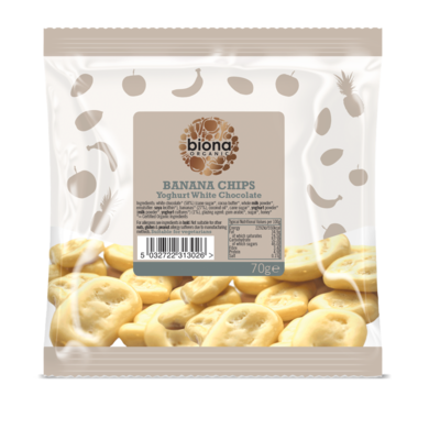 Biona Organic Yoghurt White Chocolate Covered Banana Chips 70g
