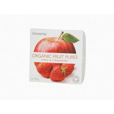 Clearspring Organic Fruit Purée Apple & Strawberry 2 x 100g