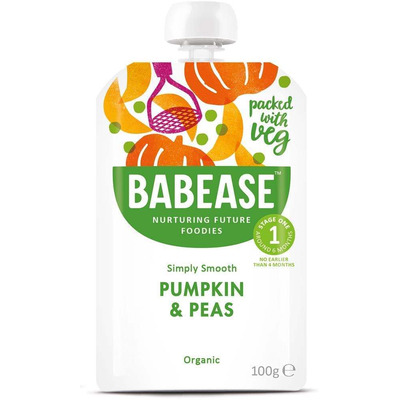 Babease Organic Pumpkin & Pea 100g - Stage 1 - Box of 8