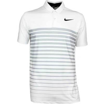 Nike Golf Shirt NK Dry Stripe White Wolf Grey AW17