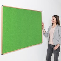 Image of Shield Wood Effect Alu Frame Eco-Colour Noticeboard 1200 x 1200mm APPLE GREEN