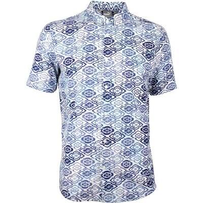 Puma Golf Shirt Aloha Woven Full Button Peacoat Floral SS18