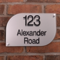 Metallic Acrylic House Signs &pipe; stainless steel effect &pipe; half rounded