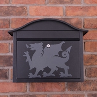 Black Dublin Postbox With Welsh Dragon Design - without