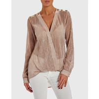 Forever Unique Womens Strike Draped Metallic Blouse With Military