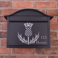 PERSONALISED Black Dublin Postbox With Scottish Thistle Design