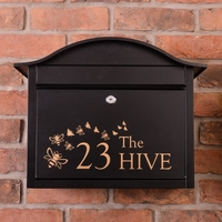 Save The Bees Black Dublin Letterbox personalised with your address