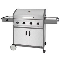 Cadac Meridian 4 Burner Gas BBQ with Side Burner - Stainless Steel