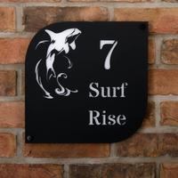 Whale Motif Coastal Acrylic House Sign