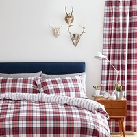 Catherine Lansfield Henley Check Eyelet Curtains 66 x 72 Inch Red