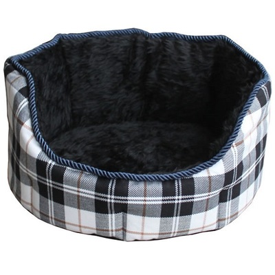 Lazy Bones High Sided Blue Chequered Oval Dog Beds
