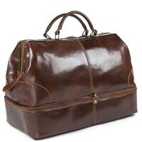 Classic Italian Leather Gladstone Case / Doctors Bag / Double Level Holdall - Brown