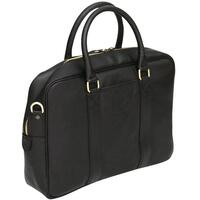 Felda Firenze Italian Leather Laptop / Business / Messenger Bag - Black