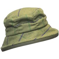 Walker & Hawkes Ladies Purple Stripe Rouche Style Country Tweed Hat - XS