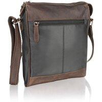 Woodland Leather Unisex Brown Contrast Leather Messenger Bag - Black/Brown
