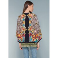 Henriette Leopard Silk Kimono - Brown