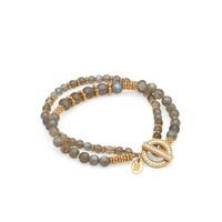 Labradorite Double Beaded Stacking Bracelet - Gold & Labradorite