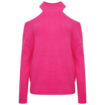 POLO NECK OVERSIZED CHUNKY KNIT JUMPER - FUCHSIA PINK - One Size