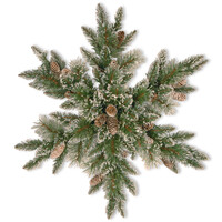 Sparkling Pine Snowflake Christmas Wreath with Cones - 32 inches