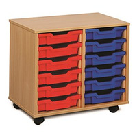 Image of 12 Shallow Tray Unit Maple Finish All Red Trays