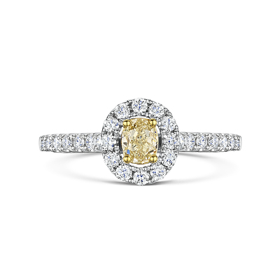 Yellow Oval Cut Diamond Halo Ring 0.75cts