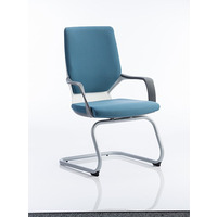 Image of Xenon Visitor Chair White Shell with Blue Fabric