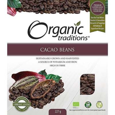 Organic Traditions Gluten Free Cacao Beans 227g