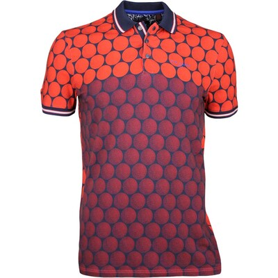 Ted Baker Golf Shirt Birdy Geo Print Polo Red SS17