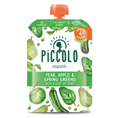 Piccolo Spring Greens, Pear & Apple 100g
