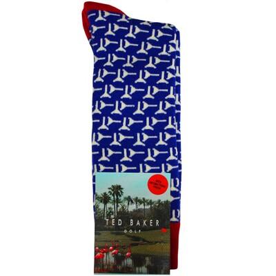 Ted Baker Golf Socks Tee Pattern Blue AW17