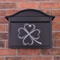Black Dublin Postbox With Irish Shamrock Design - without