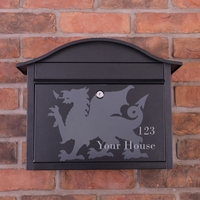 Personalised Black Dublin Postbox With Welsh Dragon Design