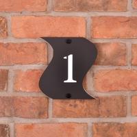 Wavy acrylic house number tile - matt black
