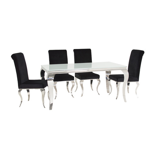 Louis White Dining Table with 4 Black Chairs