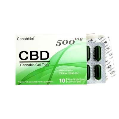 Canabidol CBD Gel-Tabs 500mg - 10 Gel Tabs