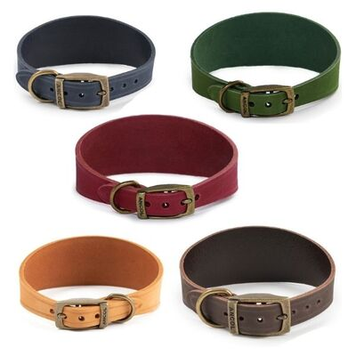 Ancol Timberwolf Whippet / Greyhound Leather Dog Collar