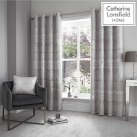 Catherine Lansfield Elegance Jacquard Eyelet Curtains 66 x 54 Inch - Silver