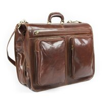 Classic Italian Leather Suiter / Suit Carrier / Business Travel Bag with Hangers - Brown