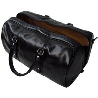 Classic Range Luxury Italian Leather Holdall / Weekend / Overnight Bag - Black Small