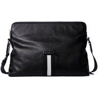 Hautton Unisex Black Cowhide Leather Messenger Bag - Landscape - Black