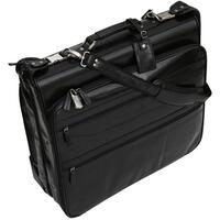 San Babila Top Grain Leather Wheeled Garment Carrier / Suiter Bag - Black
