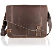 Woodland Leather Landscape Messenger Bag - Brown