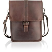 Woodland Leather Portrait-Style Natural Leather Messenger Bag - Burgundy