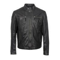 Woodland Leather Vintage Mens Leather Biker Jacket - Black XS