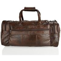 Lorenz Cabin Size Real Leather Holdall/Travel Bag - Brown