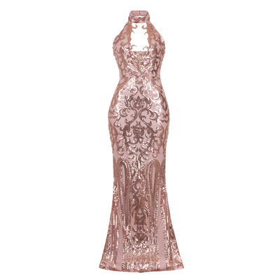 'MAJESTY LUXE KEYHOLE VICTORIAN SEQUIN ILLUSION MAXI DRESS